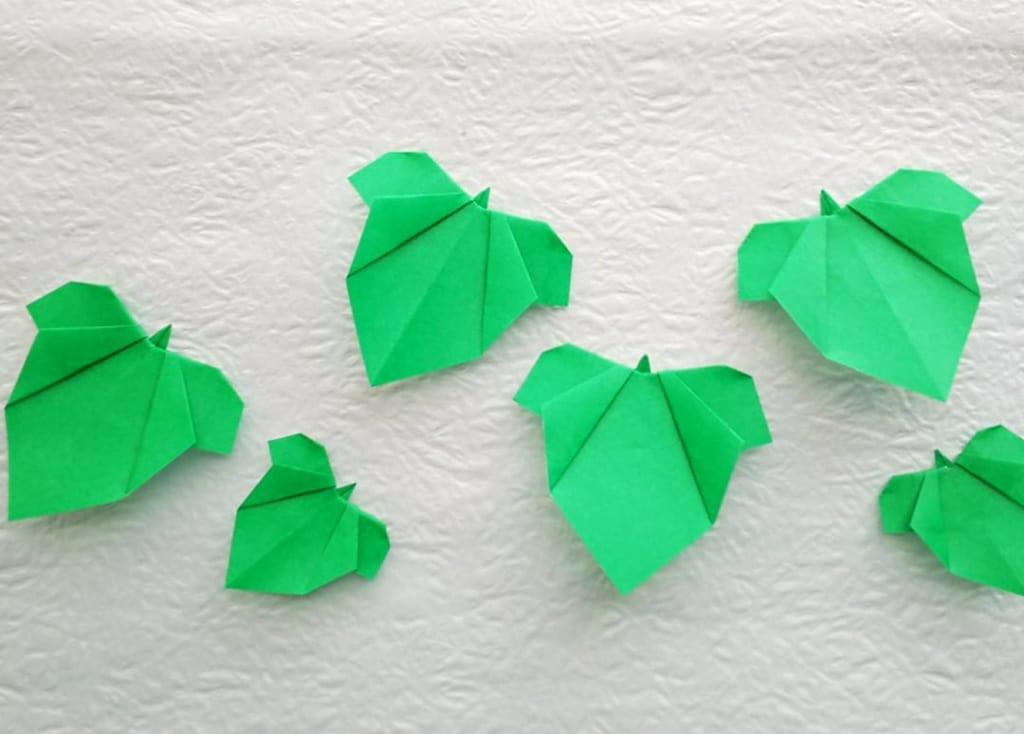 hiroko_daichanさんによるあさがおの葉っぱの折り紙