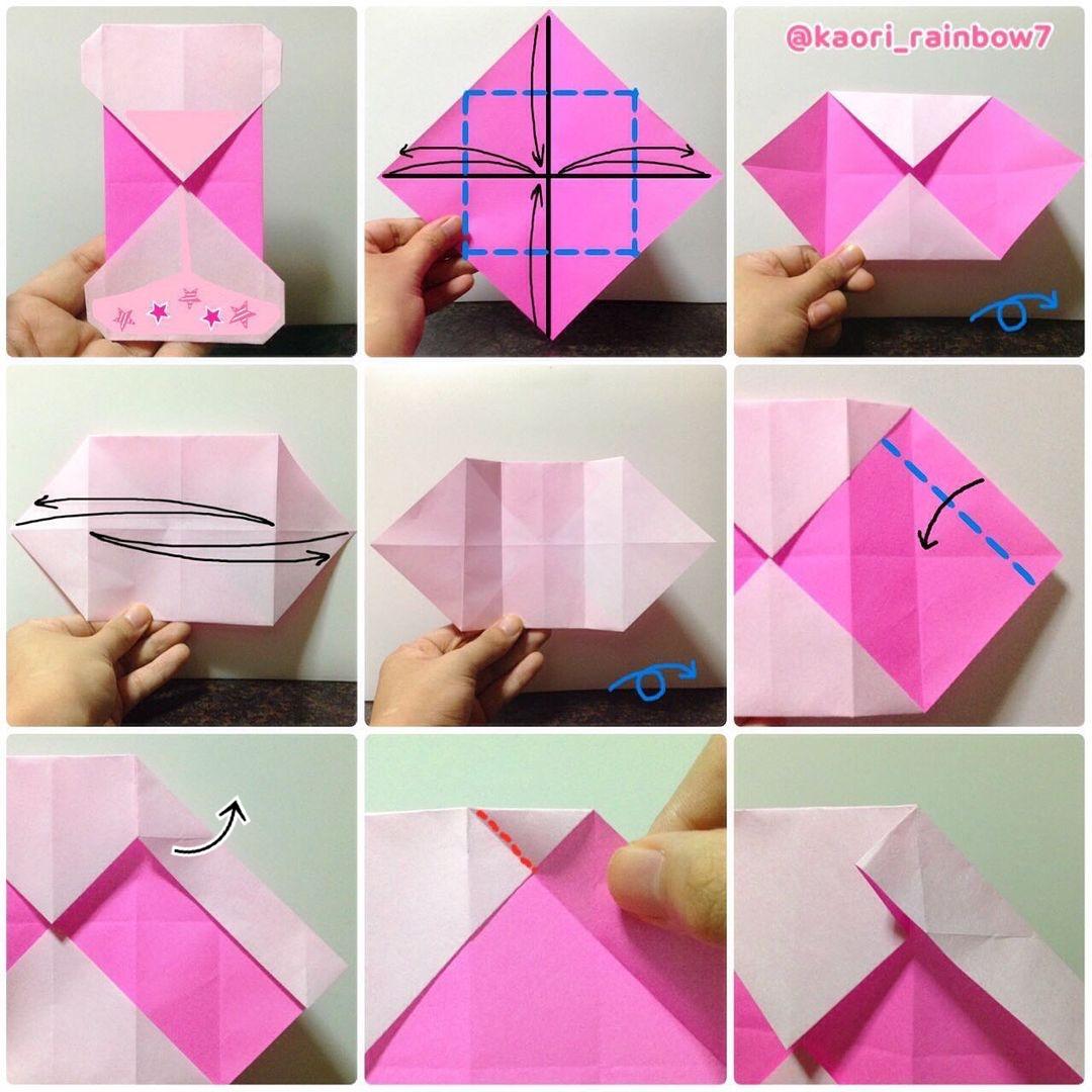 折り順について、1段目の左から右へ。2段目、3段目も同様です。 ※下中央の図の赤い線を山折に変更する。