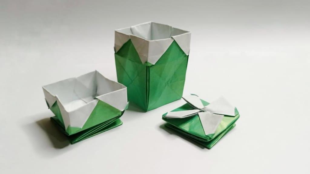 ハディさんによるたためる箱の折り紙