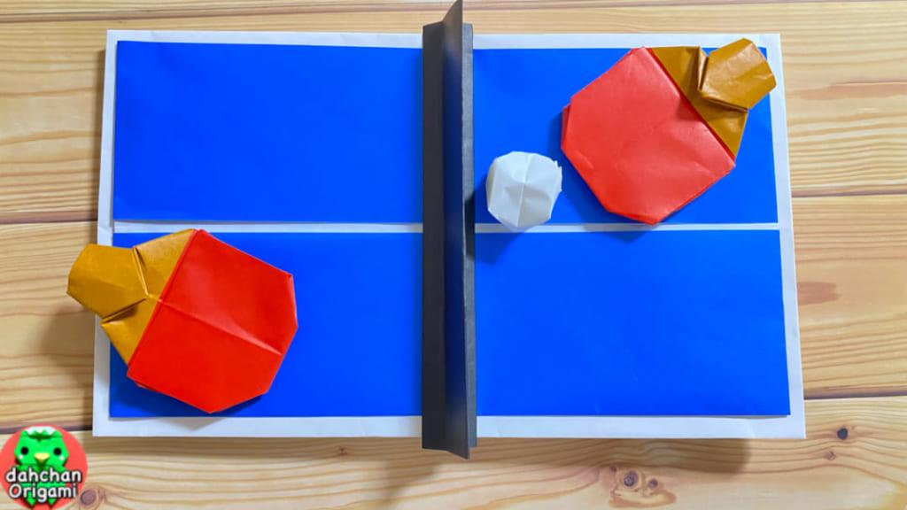だ〜ちゃんさんによる卓球ラケット&卓球台の折り紙