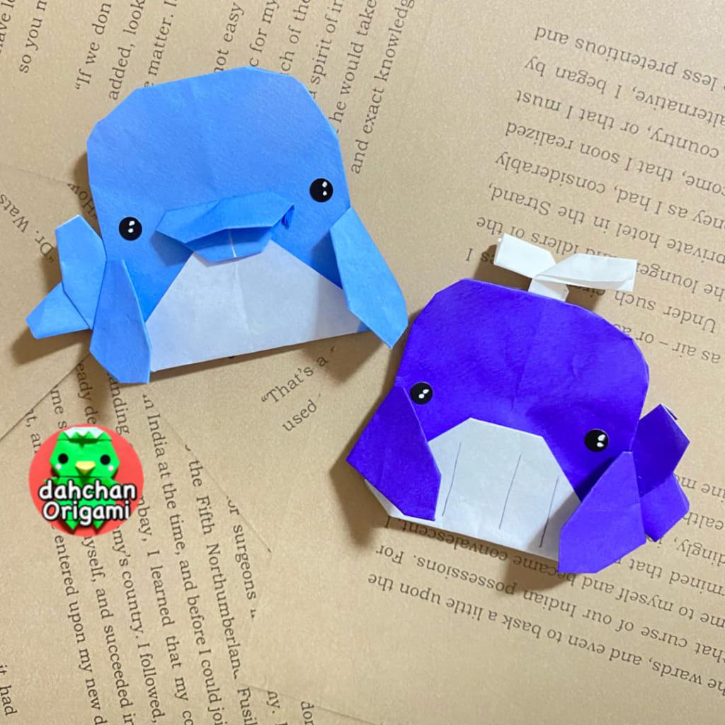 だ〜ちゃんさんによるひょっこりイルカ&クジラの折り紙