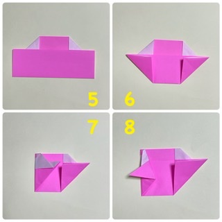 5 裏返します。 6 下の部分も、ふちにあわせて、三角に折り上げます。 7 三角に折ったところの端に合わせて、内側に折ります。 8 手になる部分を、外側に折り返します。