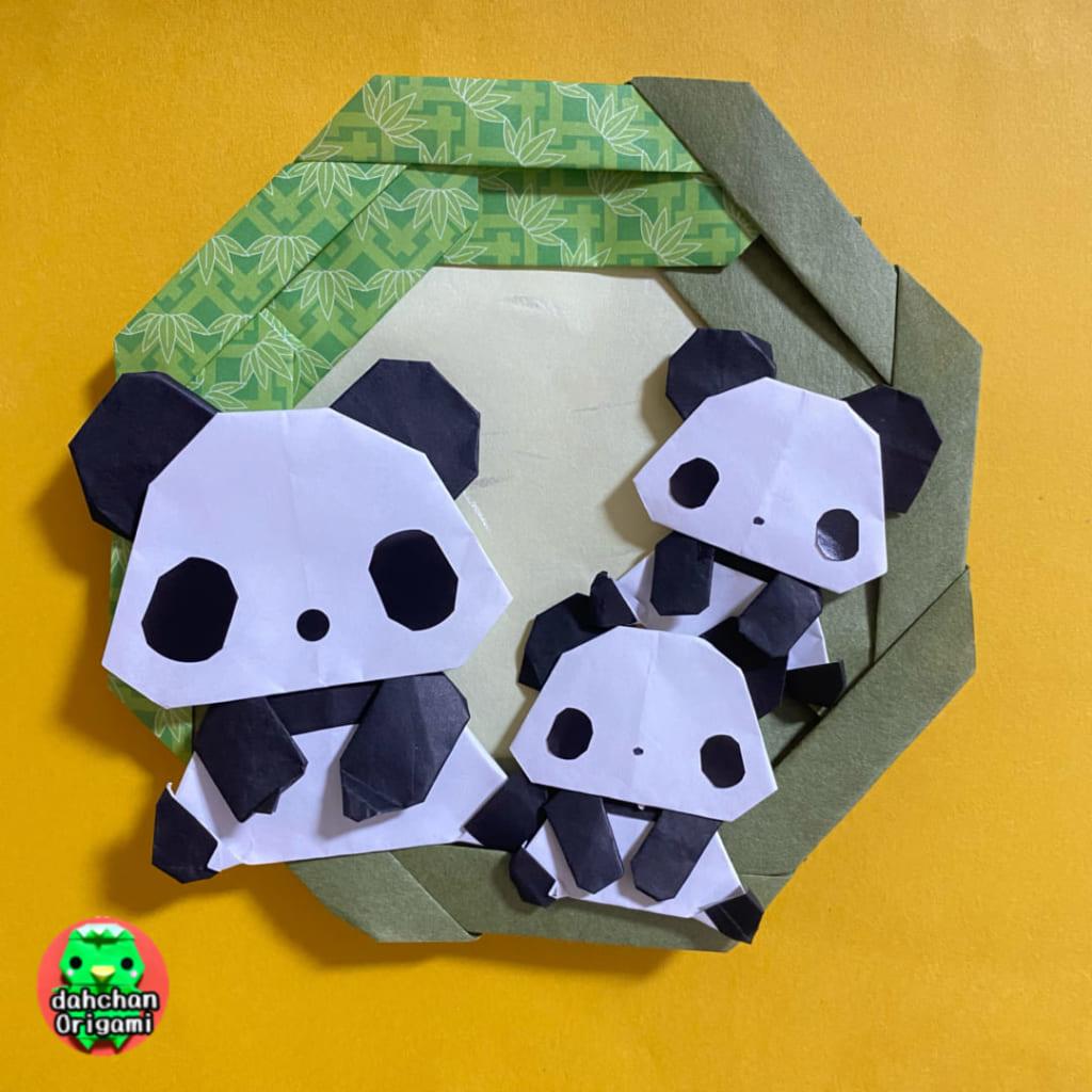 だ〜ちゃんさんによるおすわりパンダの折り紙