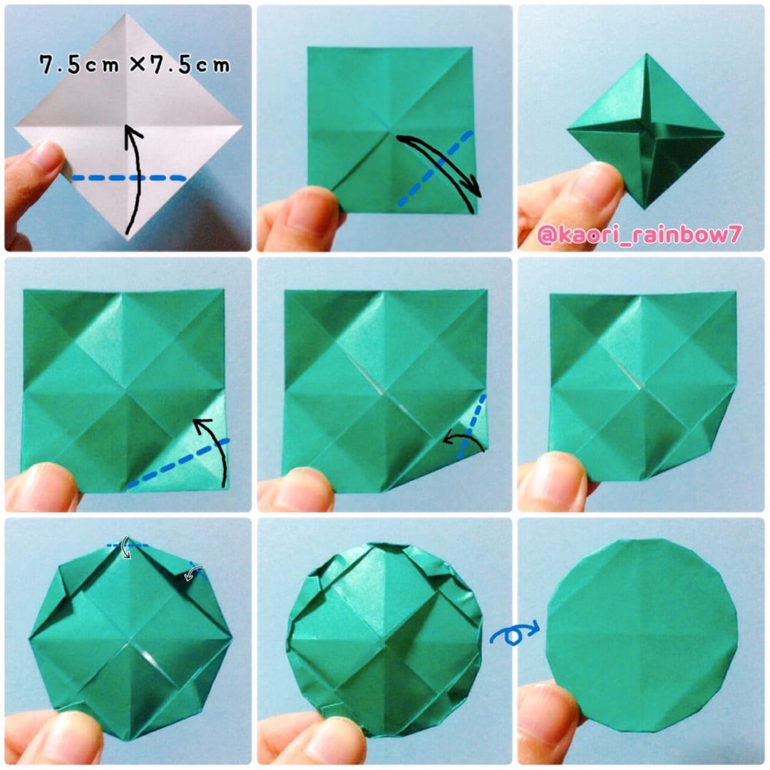 小丸  折り順について、1段目の左から右へ。2段目、3段目も同様です。