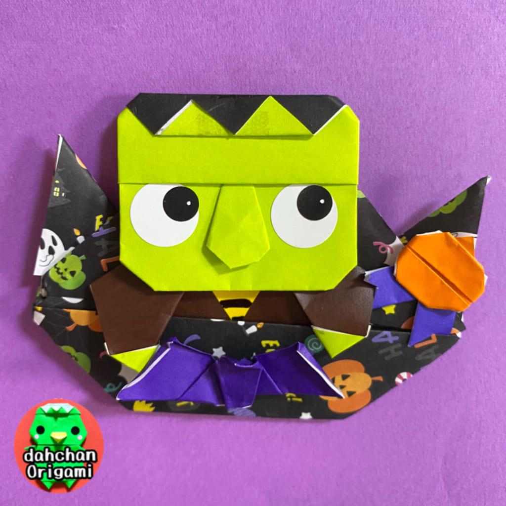 だ〜ちゃんさんによるひょっこりフランケンの怪物の折り紙